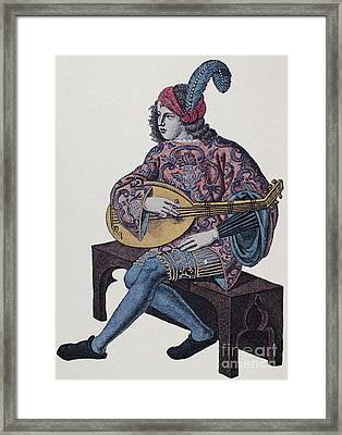 Lute Player, 1839 Framed Print by Granger