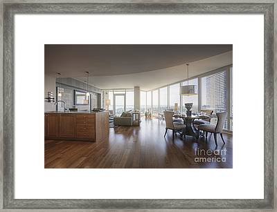 Luxury Apartment Living And Dining Area Framed Print