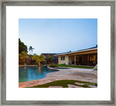Luxury Backyard Pool And Lanai Framed Print by Inti St. Clair