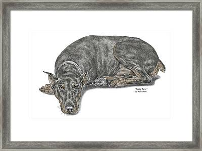 Lying Low - Doberman Pinscher Dog Print Color Tinted Framed Print