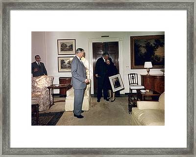 Lyndon And Lady Bird Johnson Moving Framed Print