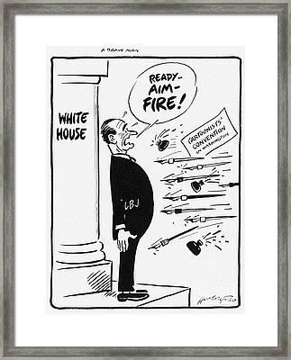 Lyndon B. Johnson: Cartoon Framed Print by Granger
