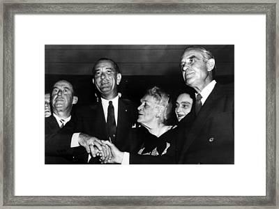 Lyndon Johnson. From Left  Future Framed Print