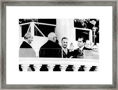 Lyndon Johnson, Spiro Agnew, Hubert Framed Print by Everett