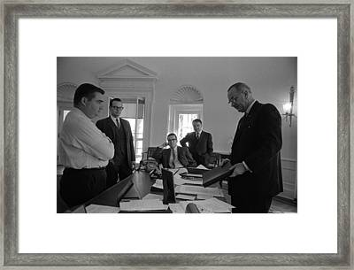 Lyndon Johnson With Former Kennedy Framed Print