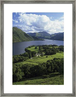 Lyulph's Tower And Lake Ullswater From The Slopes Of Gowbarrow Fell, Lake District, Cumbria, England Framed Print by Keith Wood