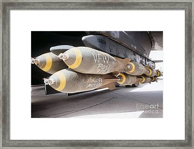 M-117 Bombs Loaded Onto A B-52g Framed Print