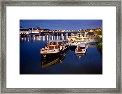 Maastricht Jetty On Maas River Framed Print