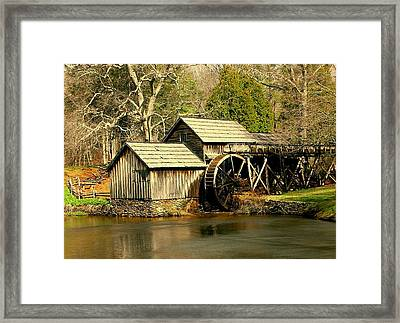 Framed Print featuring the photograph Mabry Mill In Winter by Myrna Bradshaw