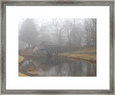 Framed Print featuring the photograph Mabry Mill On A Foggy Day by Diannah Lynch
