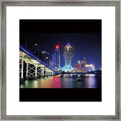 Macau City At Night Framed Print by Thank you for choosing my work.