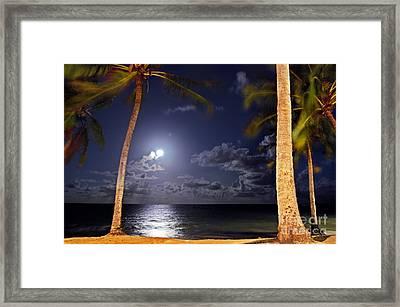 Maceio - Brazil - Ponta Verde Beach Under The Moonlit Framed Print