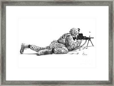 Machine Gunner Framed Print by Murphy Elliott