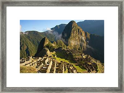Machu Picchu And Fog In Morning Framed Print by Matt Champlin