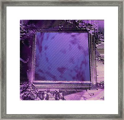 Macrophotograph Of An Intel Computer Microchip Framed Print by Laguna Design