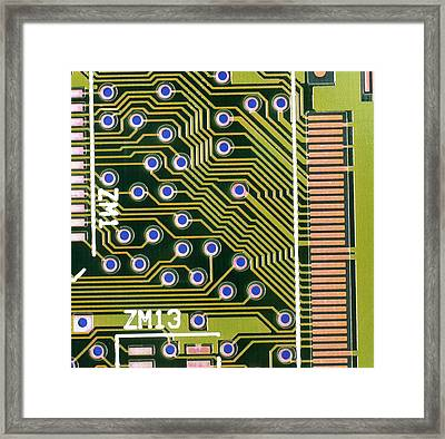 Macrophotograph Of Printed Circuit Board Framed Print by Dr Jeremy Burgess