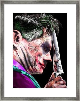 Mad Men Series 2 Of 6 - Romney The Joker Framed Print by Reggie Duffie