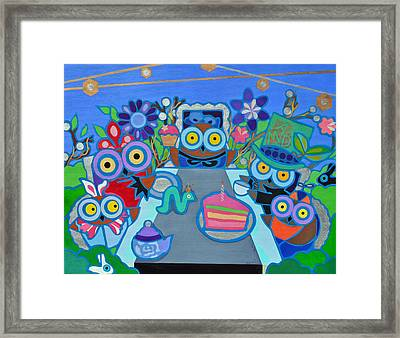 Mad Owls Tea Framed Print by Jenny Valdez