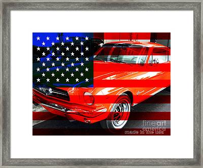 Made In The Usa . Ford Mustang Framed Print by Wingsdomain Art and Photography