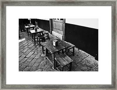 Framed Print featuring the photograph Madera Stools In Black by Rick Bragan