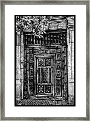 Framed Print featuring the photograph Maderia Door In Black by Rick Bragan