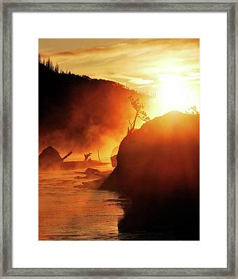 Madison River At Sunrise Framed Print by by Adam Christensen