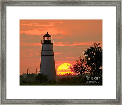 Madisonville Lighthouse Sunset Framed Print