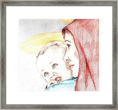 Madonna And Baby Jesus Framed Print