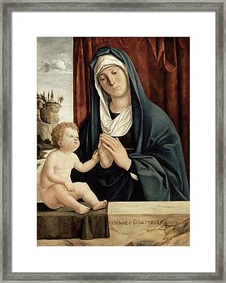 Madonna And Child - Late 15th To Early 16th Century  Framed Print by Giovanni Battista Cima da Conegliano