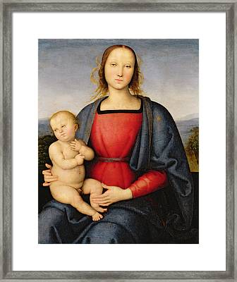 Madonna And Child Framed Print by Pietro Perugino