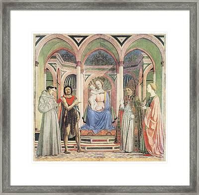 Madonna And Child With Saints Framed Print by Domenico Veneziano