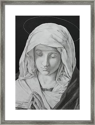 Madonna At Prayer Framed Print by Miguel Rodriguez