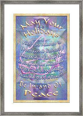 Madonna Dove And Chalice Vortex Over The World Holiday Art I With Text Framed Print