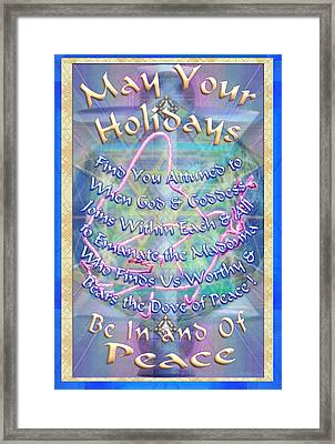 Madonna Dove And Chalice Vortex Over The World Holiday Art With Text Framed Print