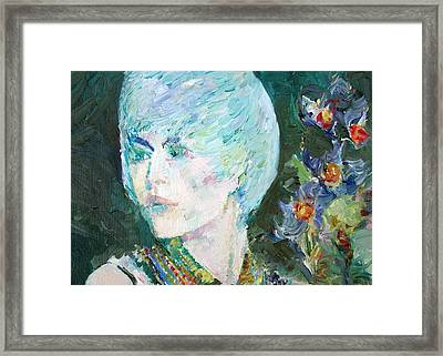 Magda The Girl - The Flowers Framed Print by Fabrizio Cassetta