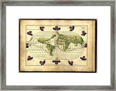 Magellan's Route, 16th Century Map Framed Print