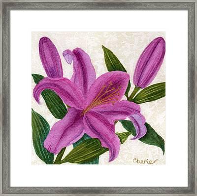 Magenta Lily Framed Print by Vikki Wicks