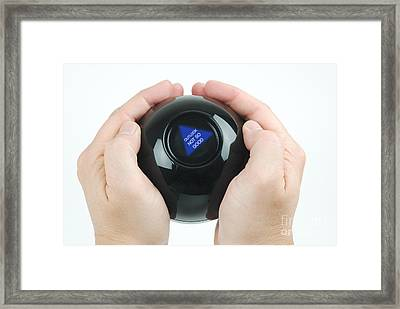 Magic Eight Ball, Outlook Not So Good Framed Print by Photo Researchers, Inc.