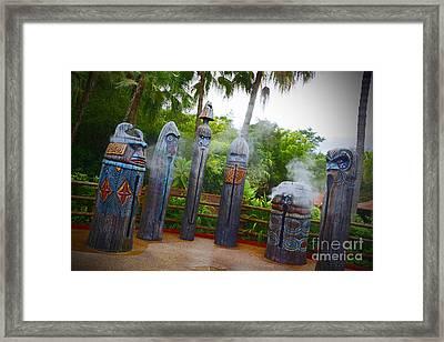 Magic Kingdom - Tiki Statues Framed Print by AK Photography