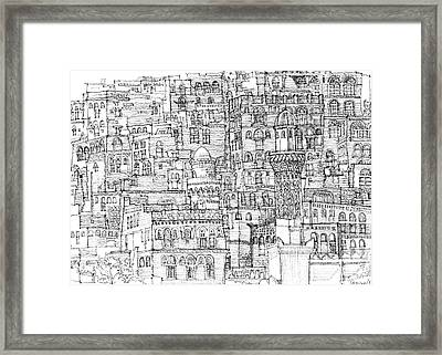 Magical Architecture Of Yemen In Ink  Framed Print
