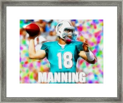 Magical Peyton Manning Miami Dolphins Framed Print by Paul Van Scott
