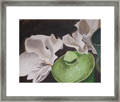 Magnolias With Green Sugar Bowl Framed Print