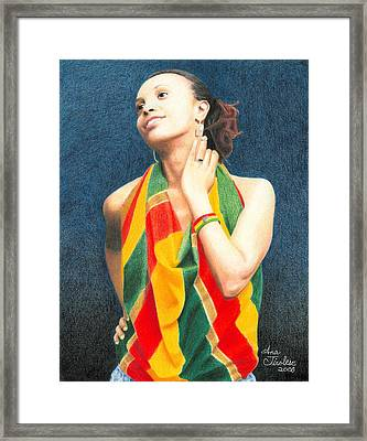 Framed Print featuring the drawing Mahlet Portrait by Ana Tirolese
