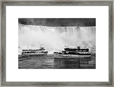 Maid Of The Mist Boats Below The American And Bridal Veil Falls Niagara Falls Ontario Canada Framed Print by Joe Fox