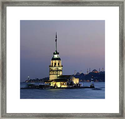 Maiden's Tower  At Sunset Framed Print by Ayhan Altun