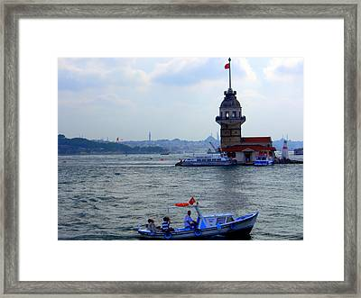 Framed Print featuring the photograph Maidens Tower Istanbul by Lou Ann Bagnall