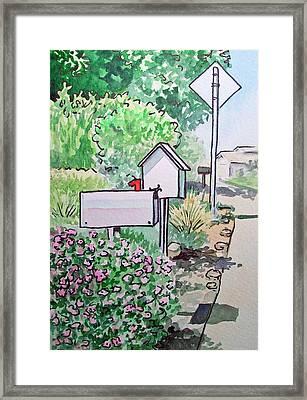 Mail Boxes Sketchbook Project Down My Street Framed Print by Irina Sztukowski