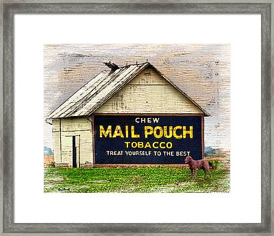 Framed Print featuring the digital art Mail Pouch Barn by Mary Almond