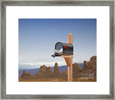 Mailbox In Desert Framed Print by David Buffington