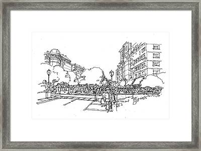 Framed Print featuring the drawing Main Street by Andrew Drozdowicz